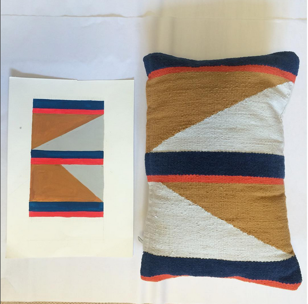 Hand painted design to hand woven pillow for CB2.
