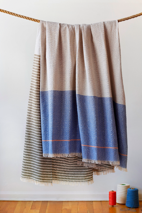The April Blanket, part of the new 2016 Studio Herron Home Collection, made in Chicago with domestic fibers. In partnership with Mary Ann Weprin and The Weaving Mill