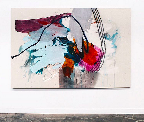 Heather Day's  dynamic paintings.