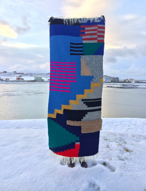 Hand woven rug I made while in residence at The Icelandic Textile Center in  Blönduós , Iceland.