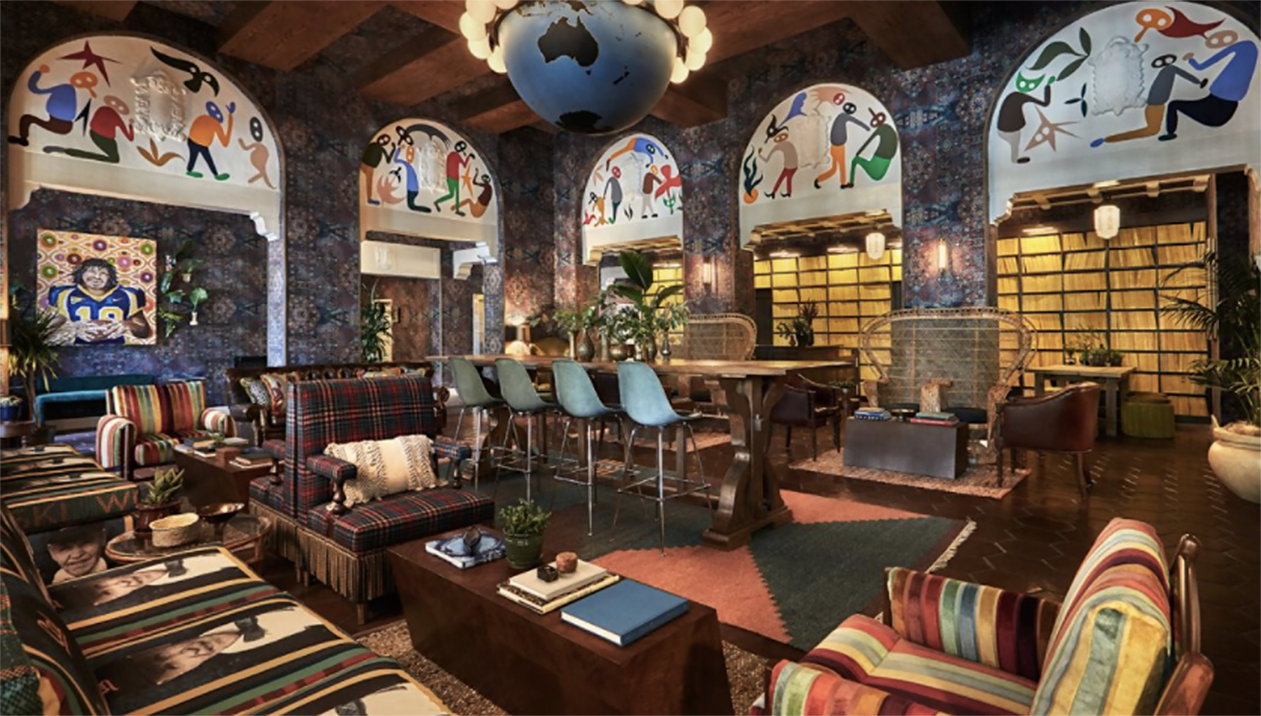 Studio Herron rug designed for the lobby of the Graduate Hotel in Berkeley, CA.