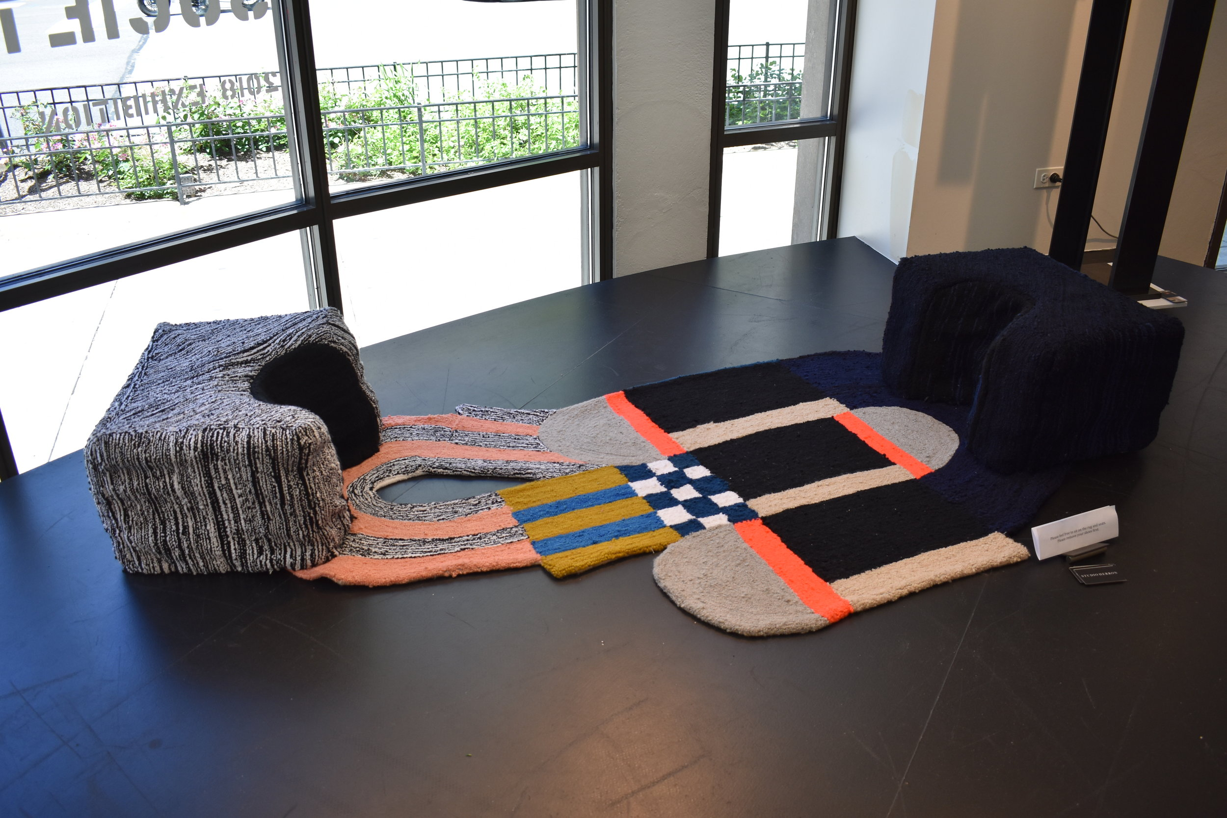 Furniture Rug, By Dee Clements for the Object Society Group Furniture Show at Montauk Sofa Showroom in Chicago for Neo Con 2018. Photo: Bridgette Buckley Bertran