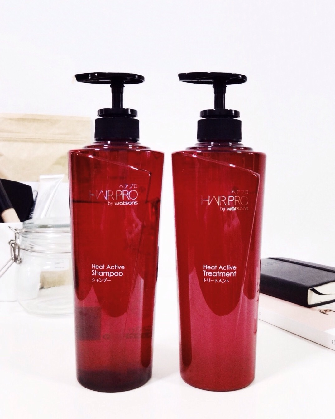In photo: Hair Pro by Watsons Heat Active Shampoo (Left) + Hair Pro by Watsons Heat Active Treatment (Right)