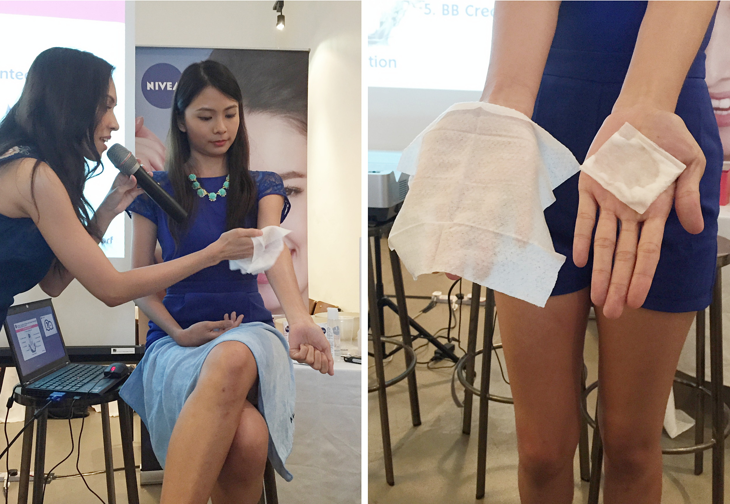 NIVEA Make Up Clear Launch: Host checking for make up residue using the NIVEA Make Up Clear Cleansing Wipes and Micellar Water