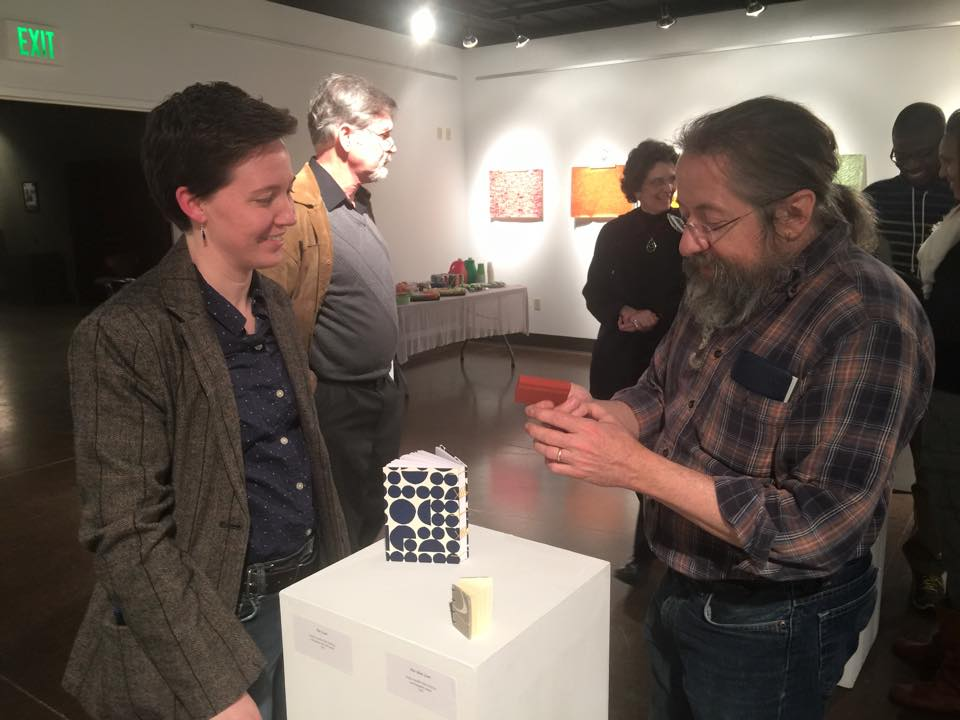"Gallery goers were encouraged to handle my books at my show ""New Work by Crowing Hens Bindery"" during the month of March.  Photo credit: Maryville College Division of Fine Arts."