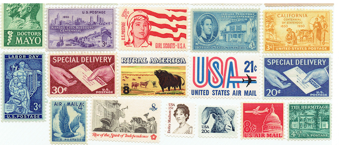 Even though the stamps I use are not rare or especially valuable, I typically reserve one of each so that I have a record of what I've used.