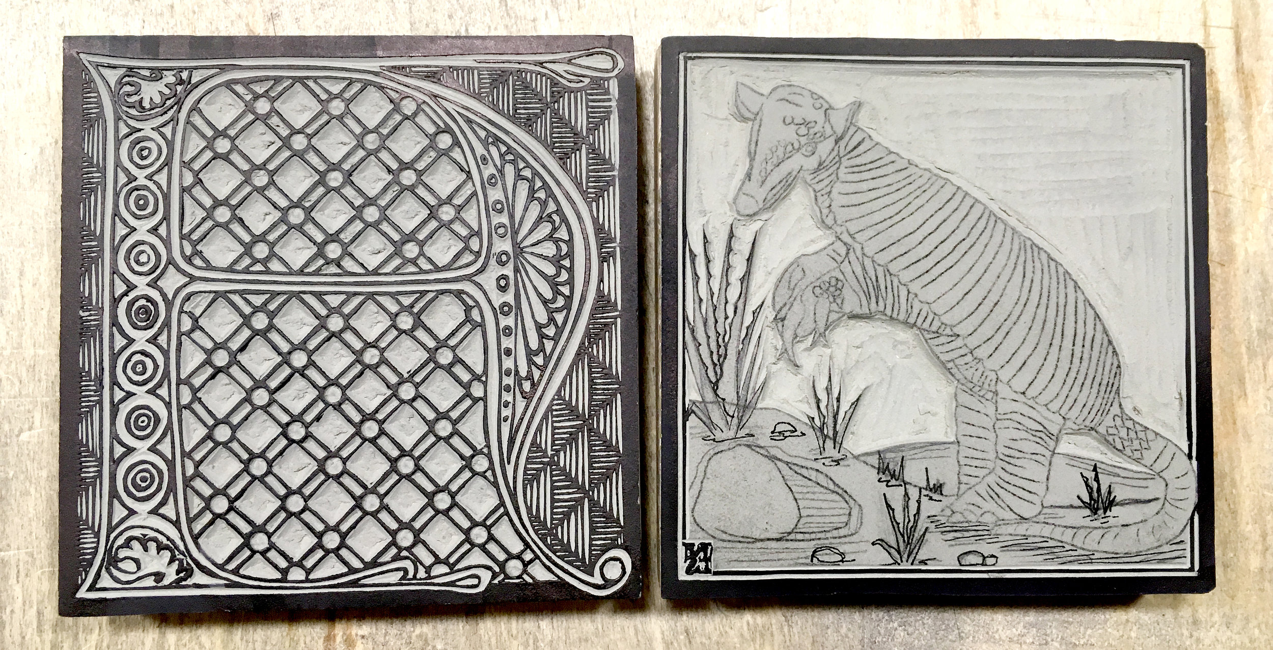 """My first 2 blocks for the Abecedarium/Bestiary, """"A"""" and """"Giant Armadillo."""" Prints of these two blocks will be available this weekend!"""