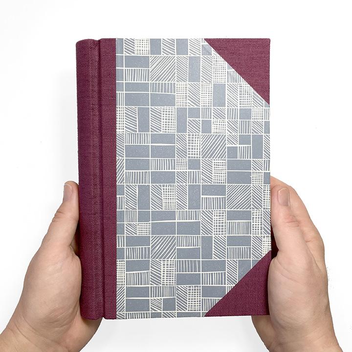 Springback Journal in Merlot and Graphite - Handmade Book