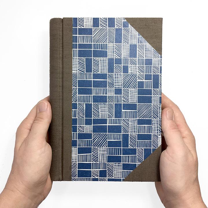Springback Journal in Chocolate & Navy - Handmade Book
