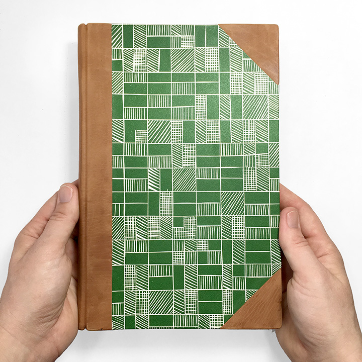Half Leather Journal in Camel & Grass Green