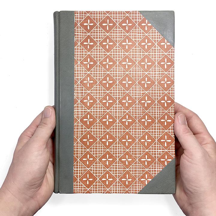 Half leather journal in Sienna & Pewter