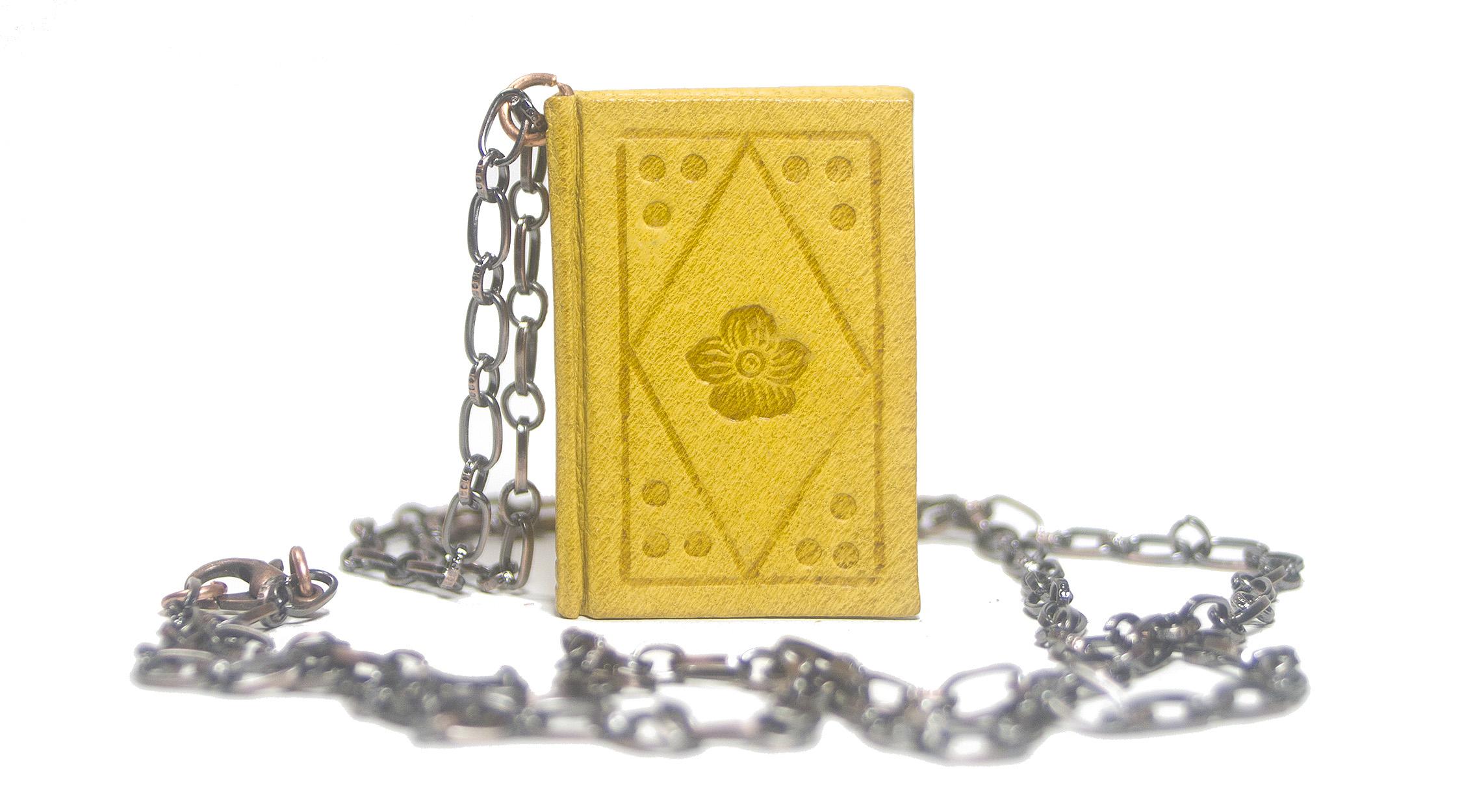 Handmade Leather Book Pendant Necklace