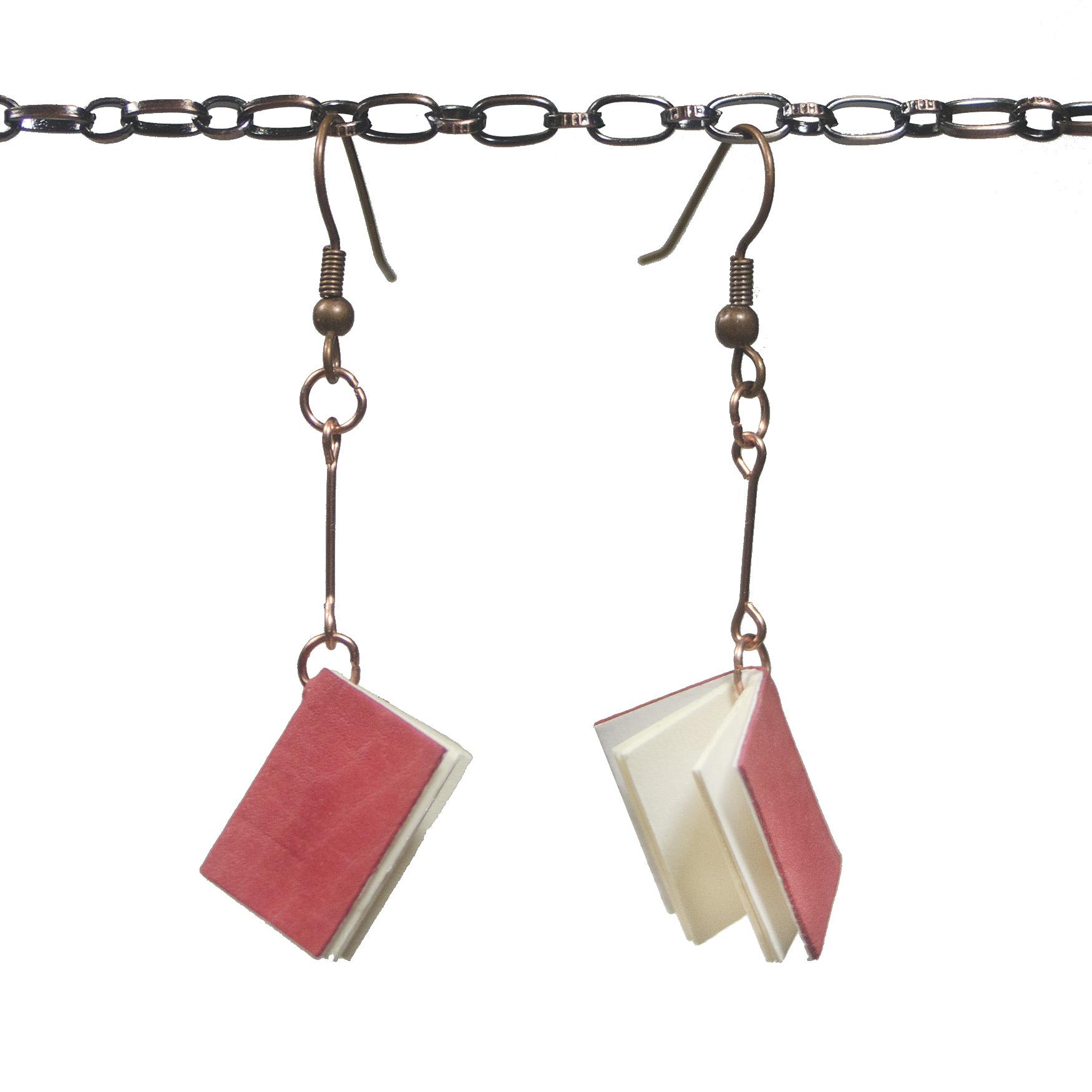 Handmade Leather Book Earrings
