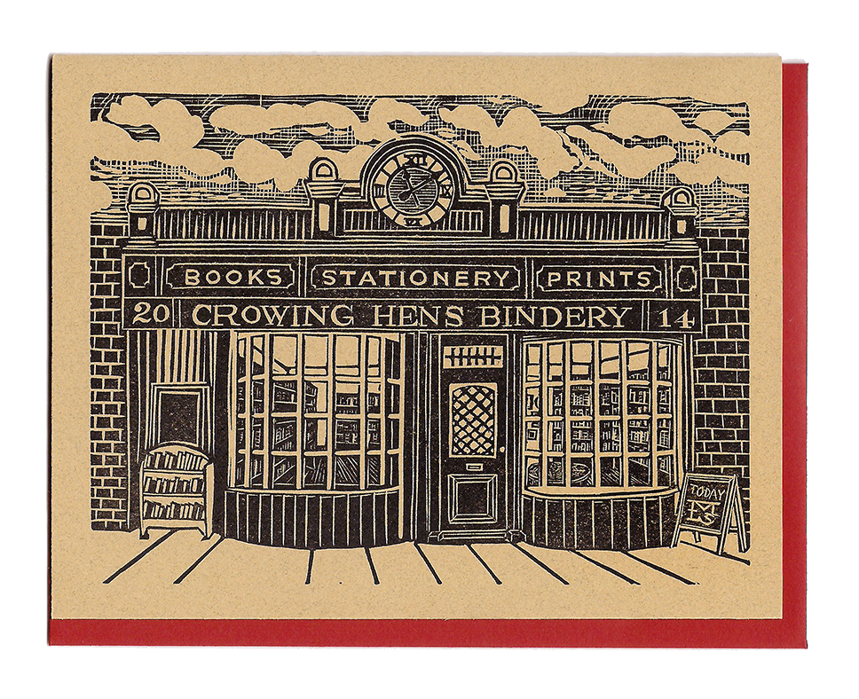 Exhibit A: My fictional Victorian storefront carved as stationery.