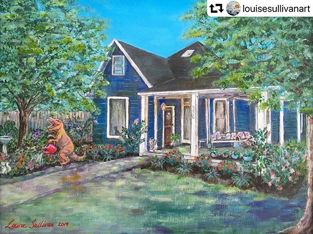 It's my sister's birthdaaaaaaay! Everyone, please help me wish @alicewrites a Happy Birthday! My mom @louisesullivanart painted this picture of her in her t-Rex suit gardening in front of her gorgeous house as a surprise birthday gift.  #repost @louisesullivanart ・・・ Today is a very special day. It's @alicewrites, my eldest's, birthday! She's the inspiration for my t-rexes, and I painted this picture of her gardening in front of her beautiful house as a birthday gift. If you look closely, you can see Bailey, her cat, in her usual sunning spot in the window. Her siblings gave her an inflatable t-Rex costume for her birthday a few years ago. Whenever you see a t-rex in one of my paintings, it's her. Love you! Everyone wish Alice a Happy Birthday!!!
