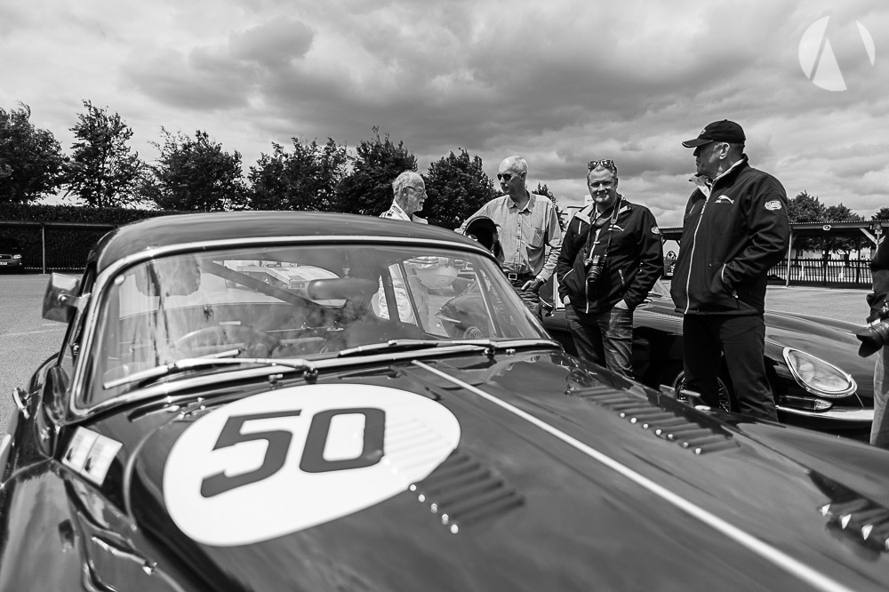 Post drive Jaguar XK150, Peter Leake and Paul Chipp-Smith of JAGtechnic discuss the laps