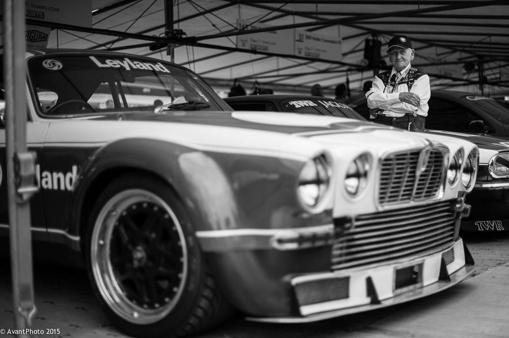 Norman Dewis OBE with Jaguar XJ12C Broadspeed