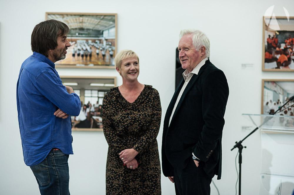 David Dimbleby at Towner, with Emma Morris and Julian Germain