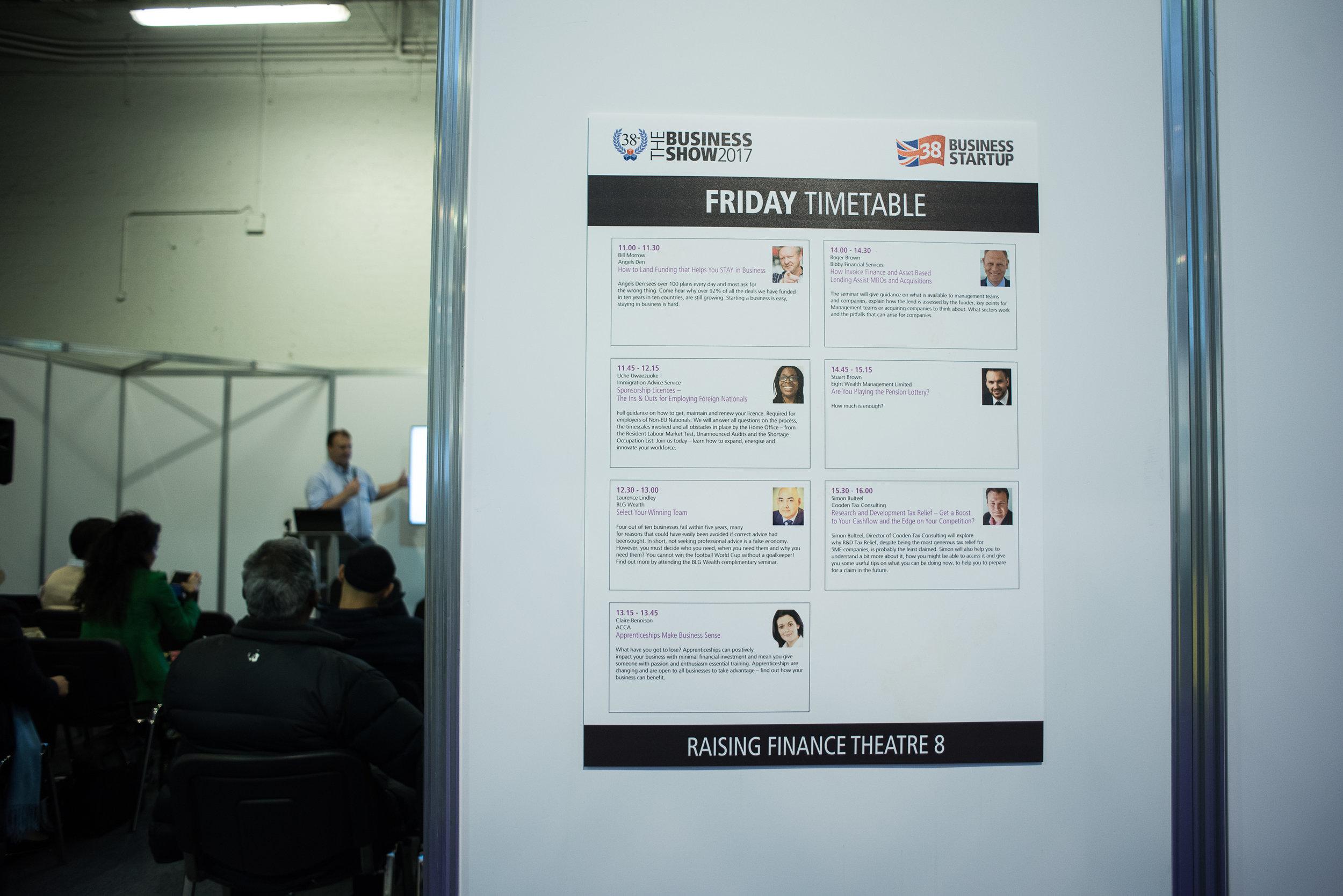 Simon's listing, closing the programme of talks