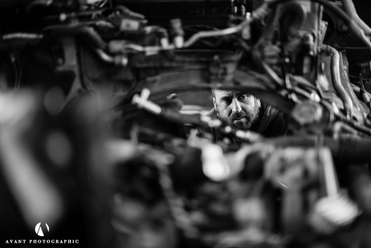 Through the engine block