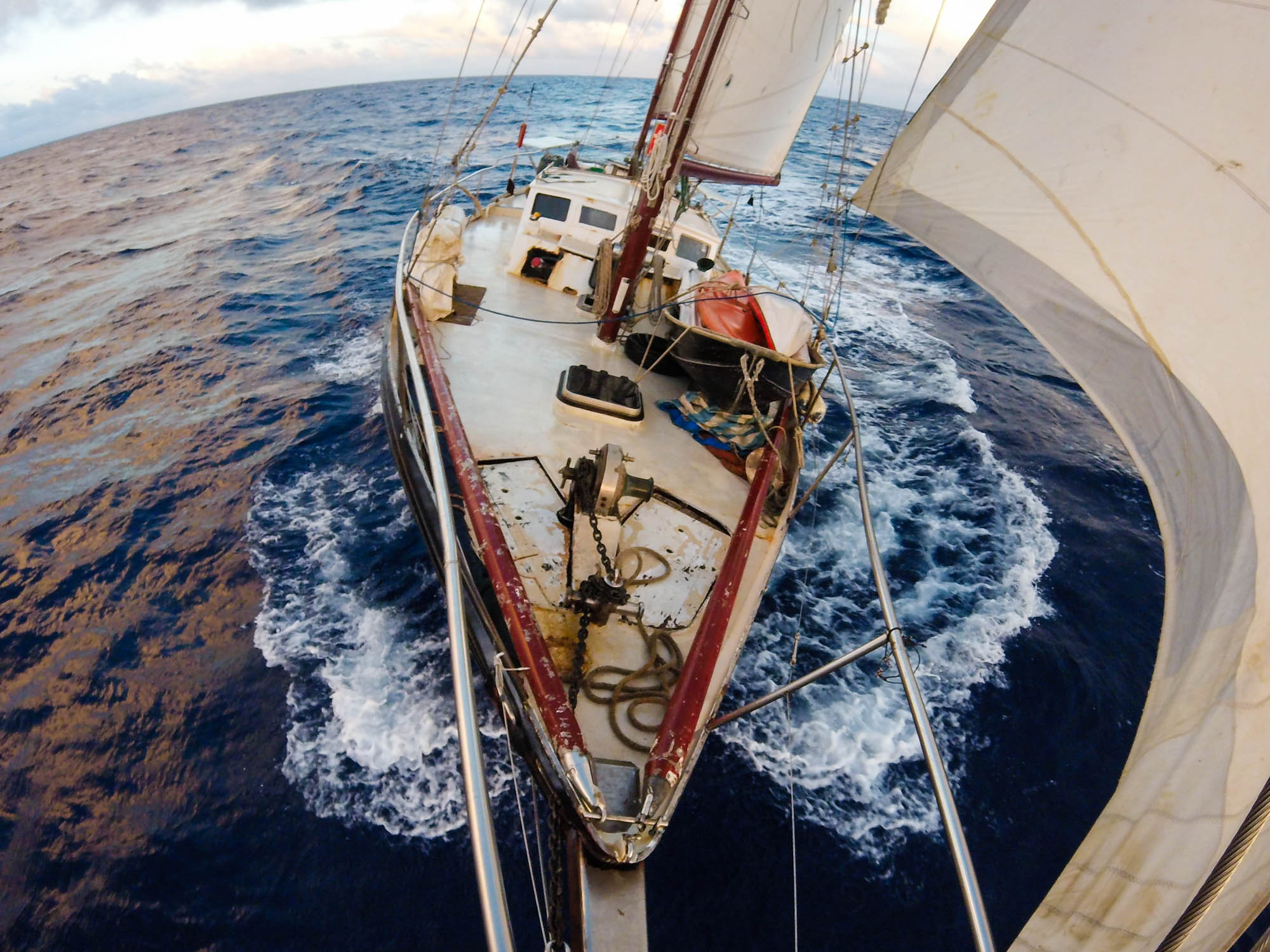 My home on the 53 foot steel ketch KARAKA as I sailed as crew through the Marshall Islands and beyond.