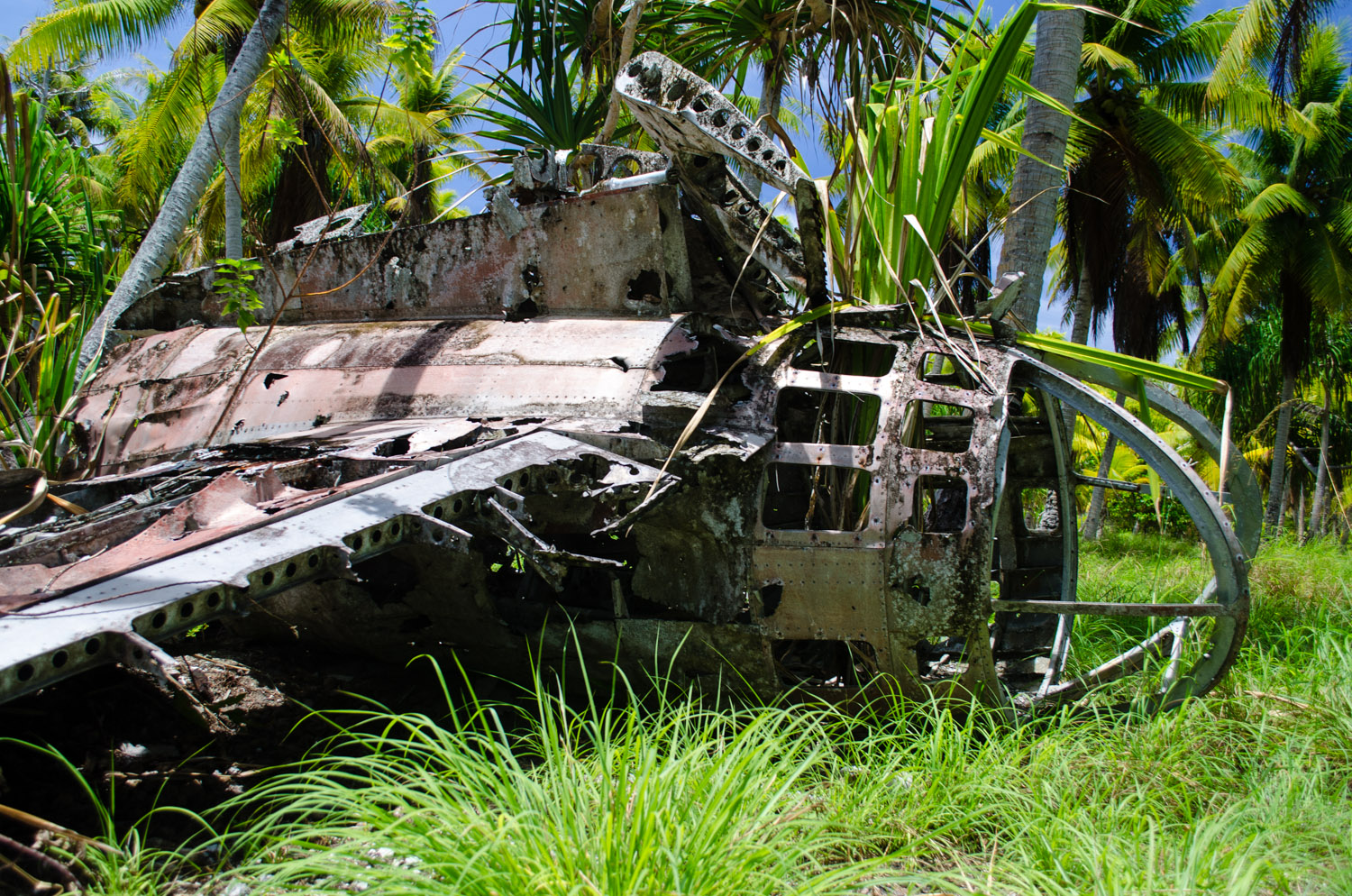 """The wreckage of a Japanese Mitsubishi G4M, commonly known by its nickname the """"Betty Bomber"""", on Taroa Island"""