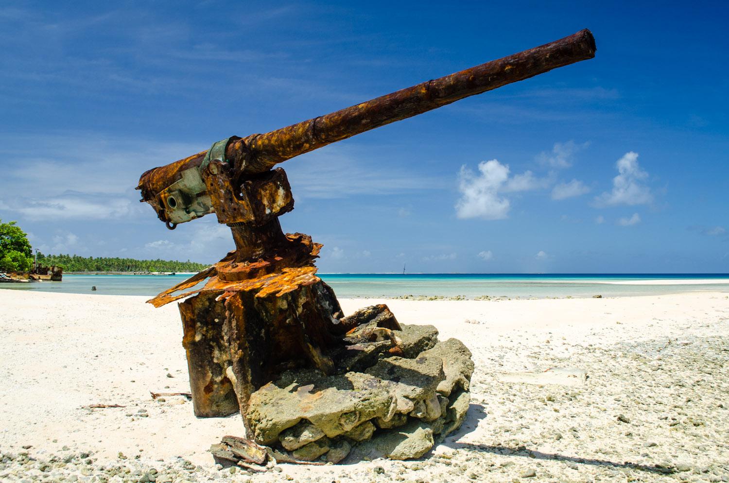 An anti-aircraft cannon exposed over the years from erosion