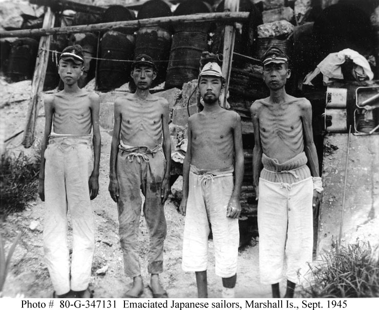 Emaciated Japanese sailors in the Marshall Islands after multiple years of Allied blockade and bombardment