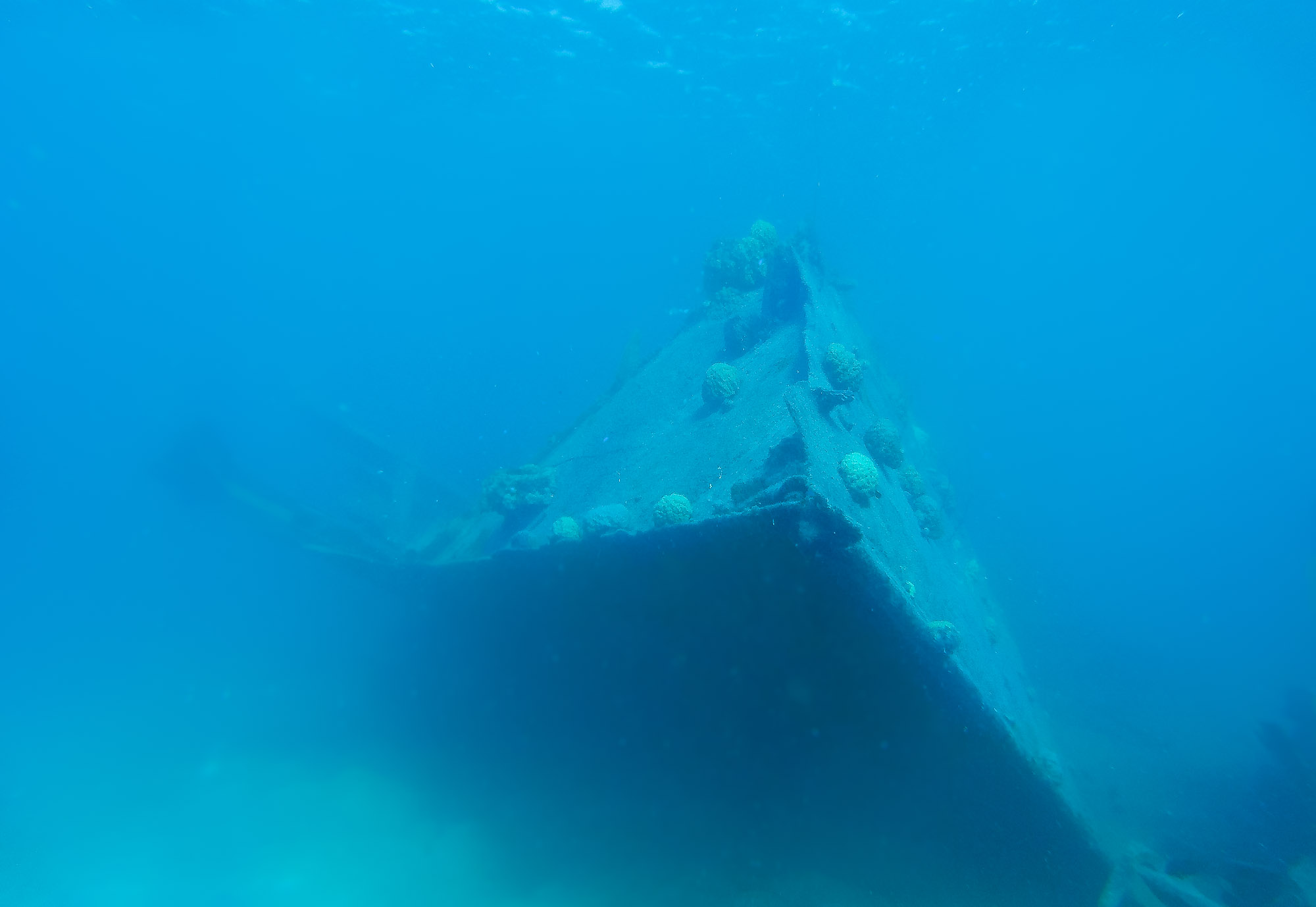The bow section of the Terushima Maru remains relatively intact