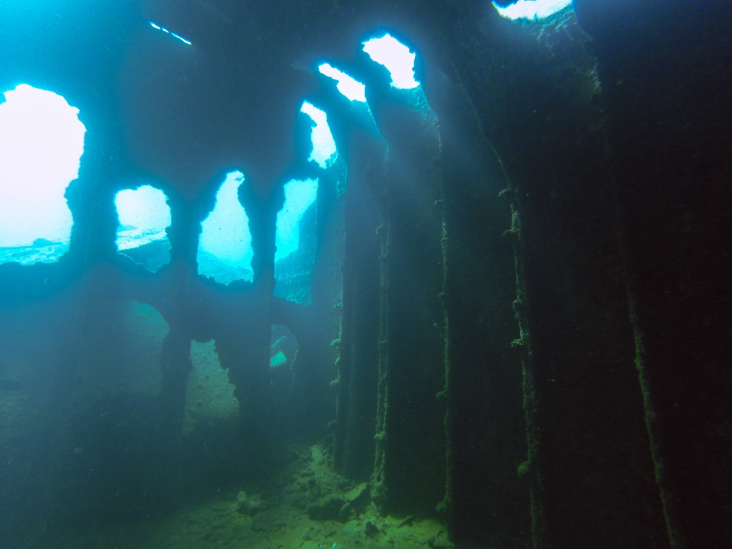 Inside a cargo hold