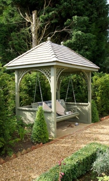 Arbour - An arbour is generally composed of a bench, whether wooden or metal, surrounded by a roof and lattice framework through which climbers can be trained. Plant up arbours with fragrant climbers to enjoy a lovely rest in the garden.