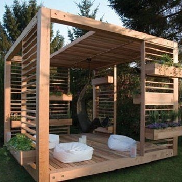 Gazebo - Gazebos are a type of pavilion with a roof, often octagonal or round in shape. They provide a relaxing spot in which to shelter from the rain or sun, while still admiring panoramic views of the garden.