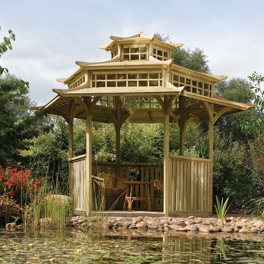 Pagoda - Similar to a gazebo, a pagoda provides shelter yet has a tiered roof that adds instant character to a Japanese-style garden. Try placing it near a water feature to echo the serene atmosphere of a Japanese garden.