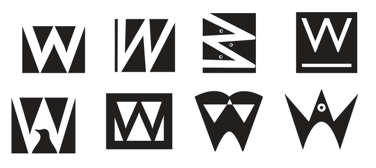 """From left to right, top to bottom: 1. Simple. 2. """"Moving forward"""".3. Penguins together. 4. Homage to Jan. 5. Simple. 6. Eh. 7. A penguin holding a book. 8. A penguin with its fins up—forming a W."""