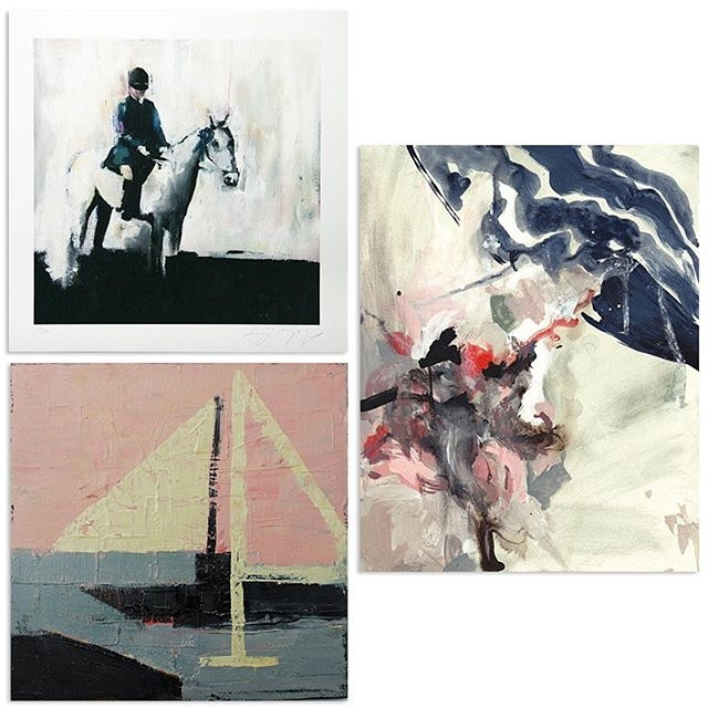 """Three pieces from my collection. Top left: Print """"Blue Ribbon Winner"""" by  Lisa Golightly . Bottom left: Original work """"Sailing"""" by  Jenny Gray.  Right: Original work """"Disguise"""" by  Clare Elsaesser."""