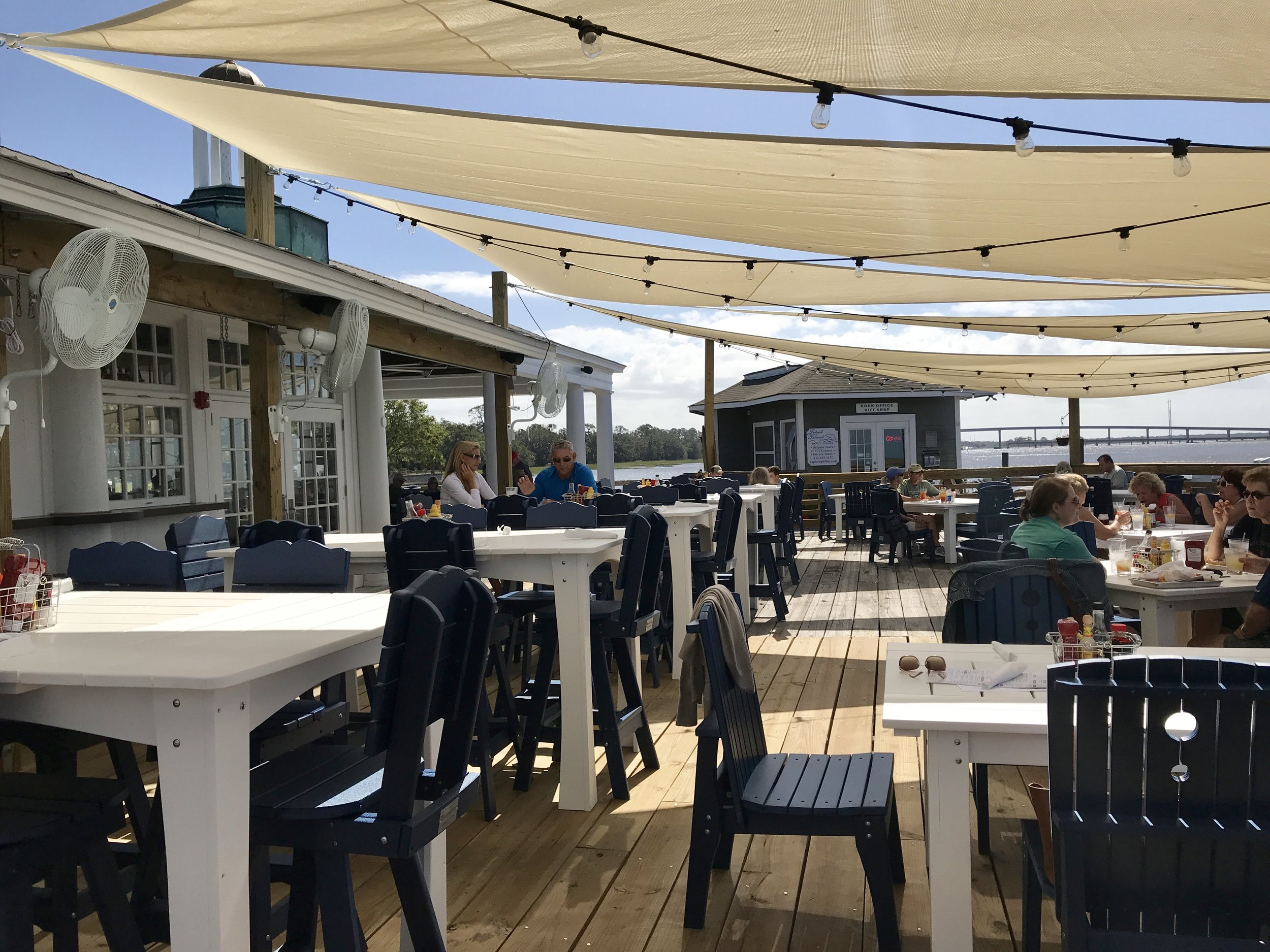 Outside dining area, The Wharf.