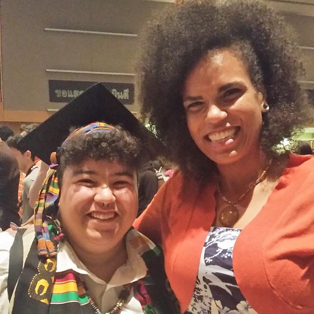 Walidah Imarisha with PSU graduate Mariah Leewright