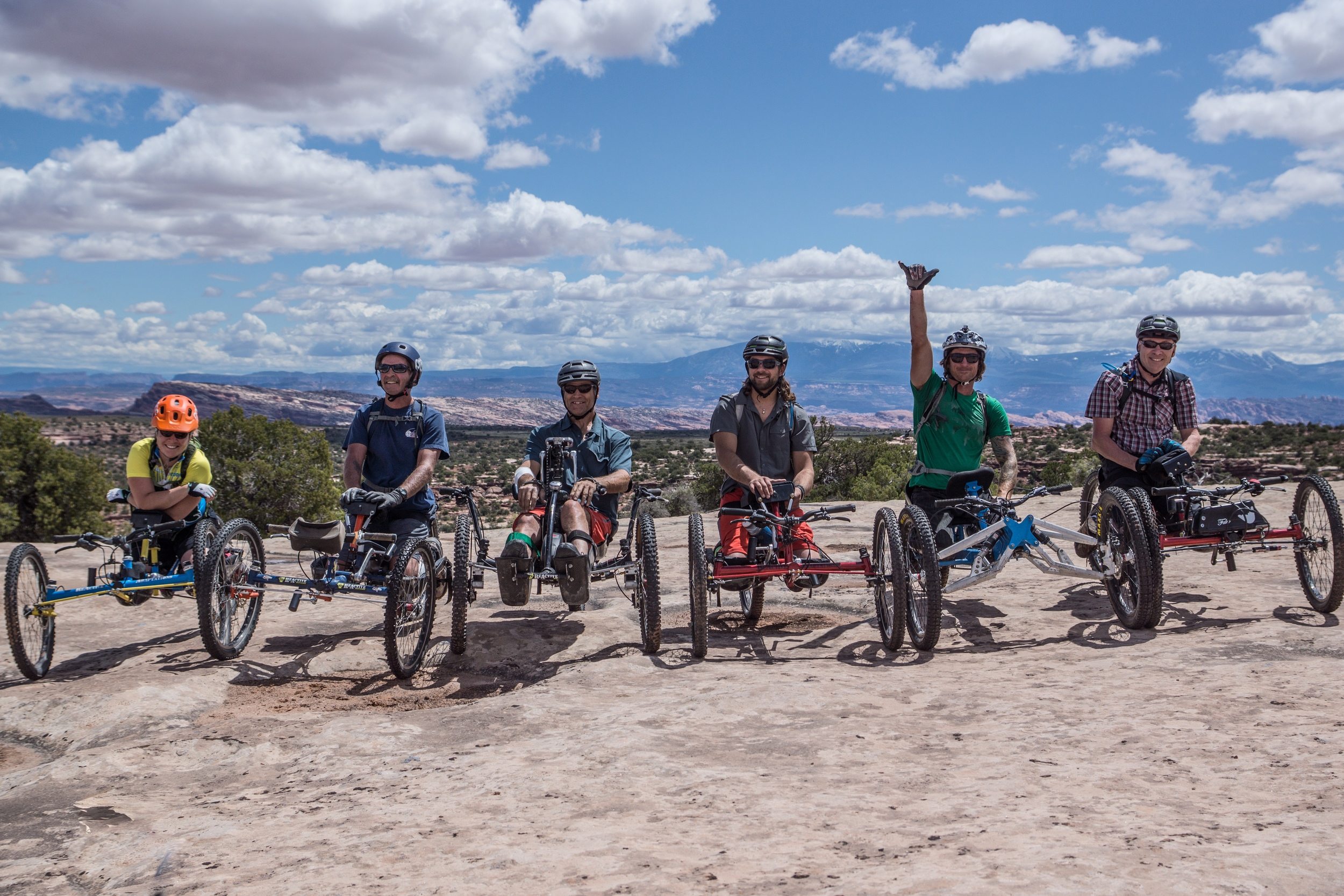 The Crew from Telluride Adaptive we met up with. From left to right: Sylvie, Ricky Bobby, Patty Wack, Madman Poole, Jer, and Jet (my fav). Cool to see all the different bikes.   Photo by Jeff Fox (  @foxonarock  )