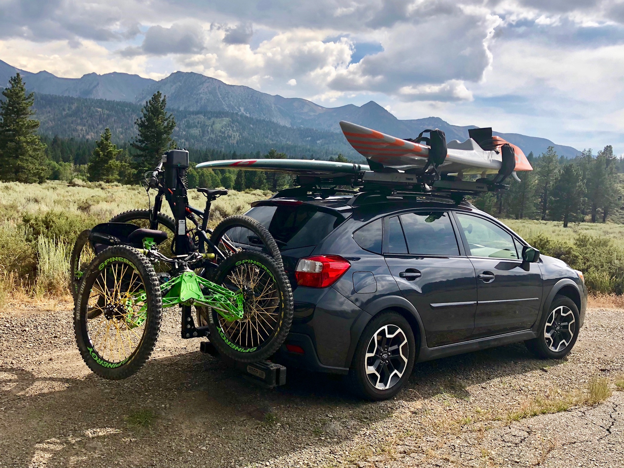 All loaded up with boards and bikes