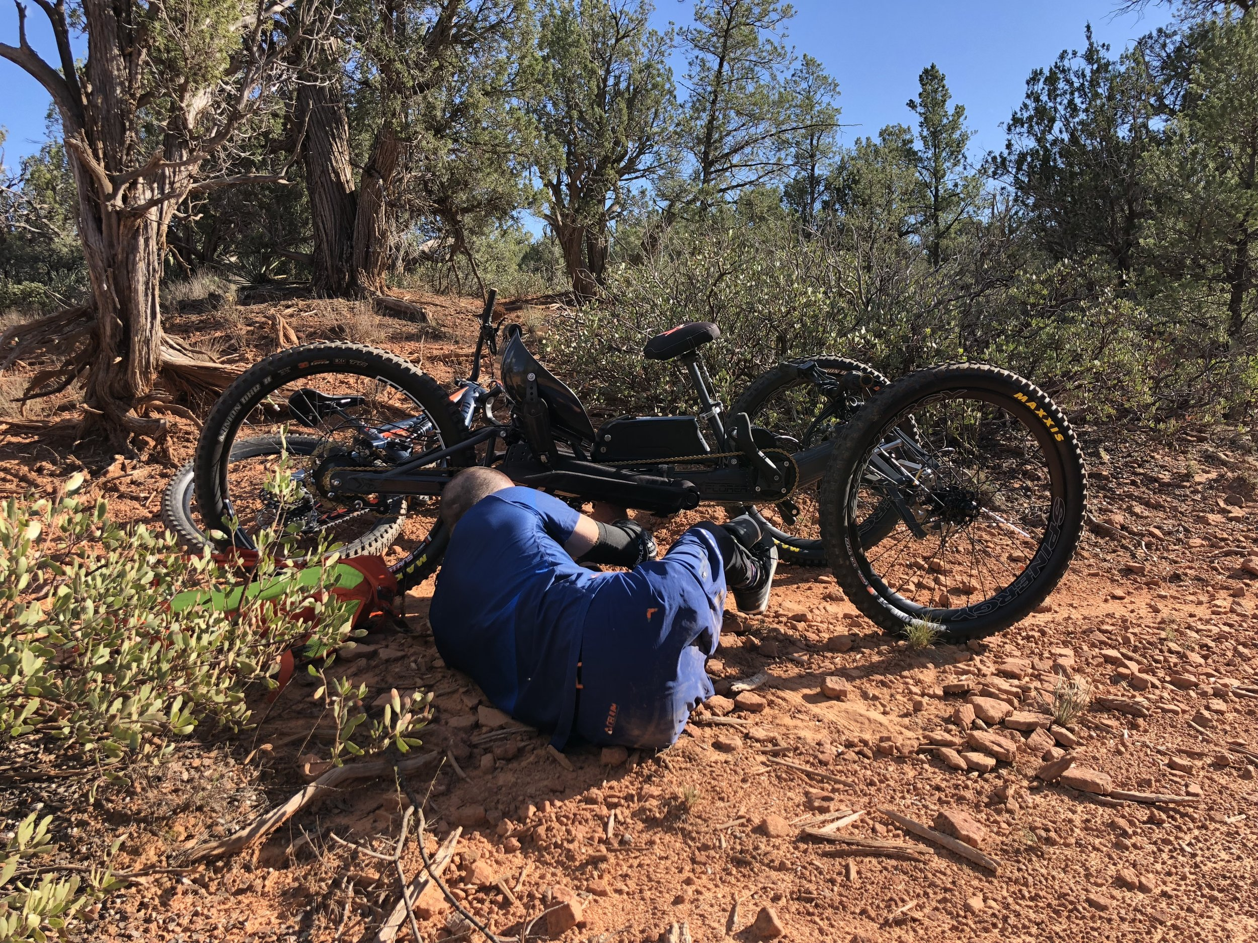 Working on my bike about 2mins into the ride in Sedona. Ride #1.