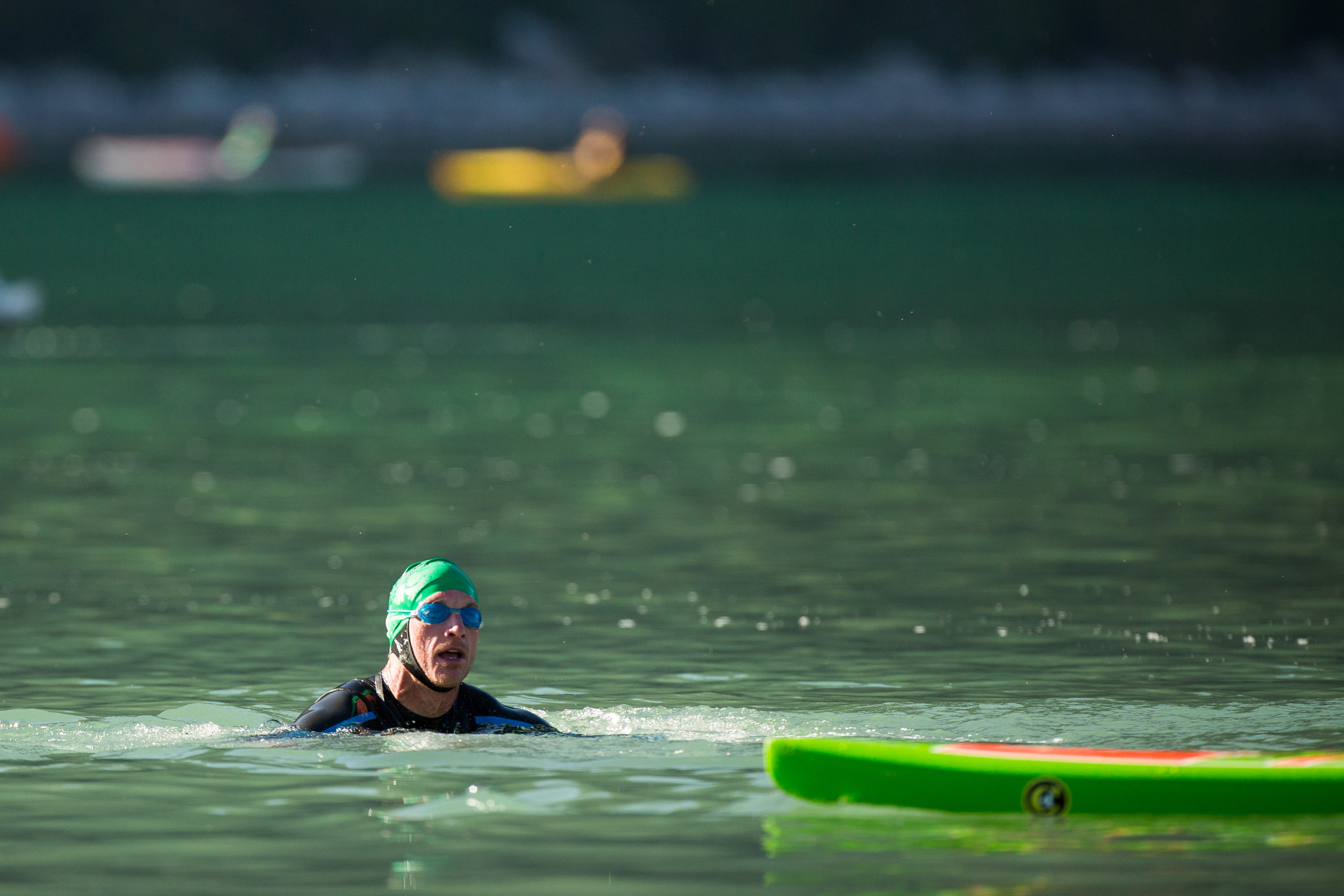 Swimming the June Lake Tri in 2013. Photo by Minaret Photography