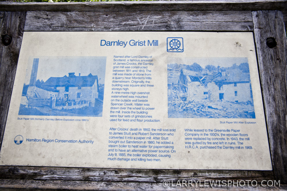 Sign outside the Darnley Grist Mill. Click for larger view.