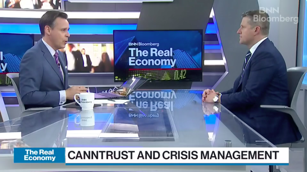 CLICK PHOTO TO WATCH FULL SEGMENT  Our Managing Partner Wojtek Dabrowski sat down with BNNBloomberg's Greg Bonnell to discuss CannTrust's crisis management response to allegations that have caused its stock to plummet and Health Canada to investigate.