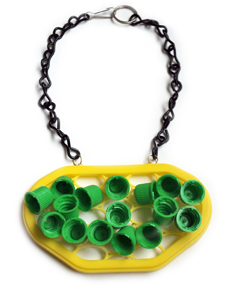 Plastic Seconds Upcycled Green Tops on Yellow FLAT.jpg
