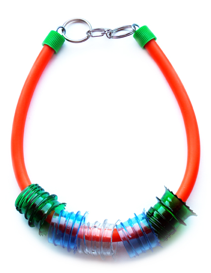 © SMALL Plastic Seconds recycled bottle necks necklace on orange rubber tube.jpg