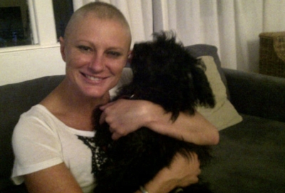 When you have no hair but you smile for the camera anyway - As you strangle your much loved puppy!
