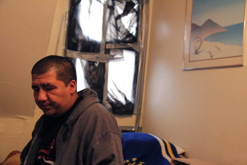 José Parra, 39, in his room at the Midland Motor Inn, a motel where he is a caretaker. He has lived in the motel since Hurricane Sandy destroyed his house only blocks away in Midland Beach, Staten Island.  Parra, an undocumented immigrant from Mexico, has been in the United States since he was 17.