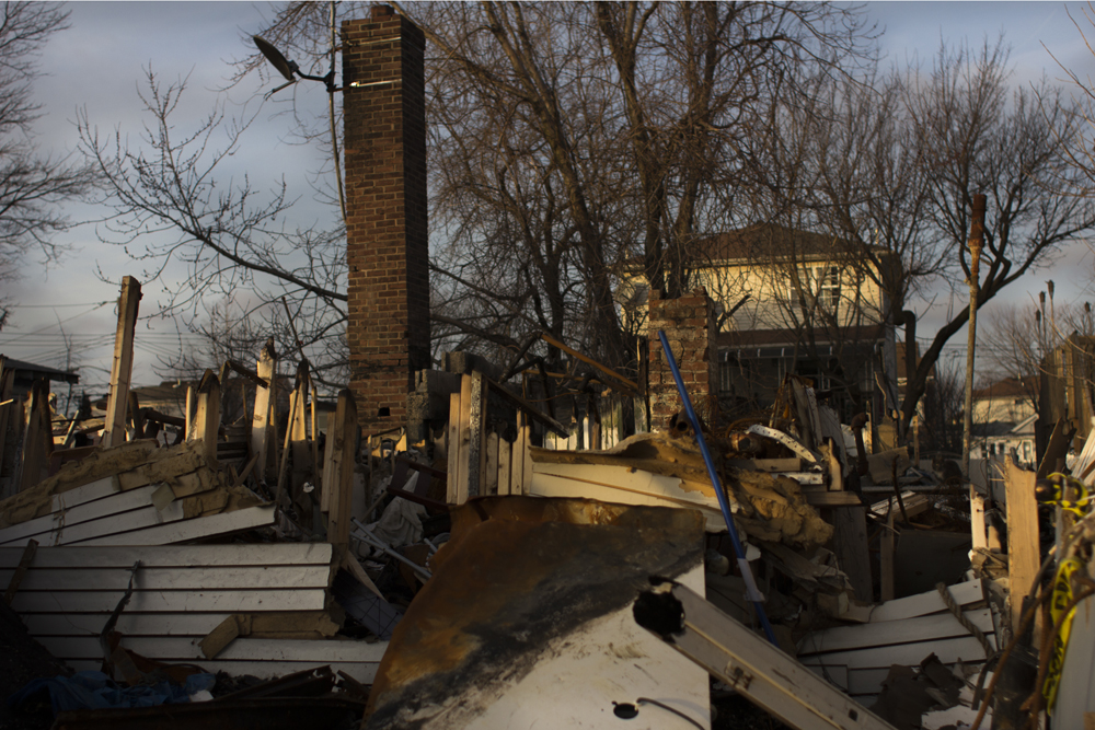 The ruins of a house that burnt down on the night of the storm in Midland Beach, Staten Island.