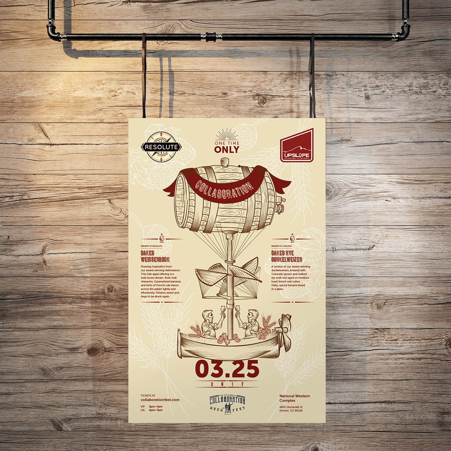 Poster design for Collaboration Fest to host both Resolute's and Upslope's brands under one concept. Hand drawn illustration.