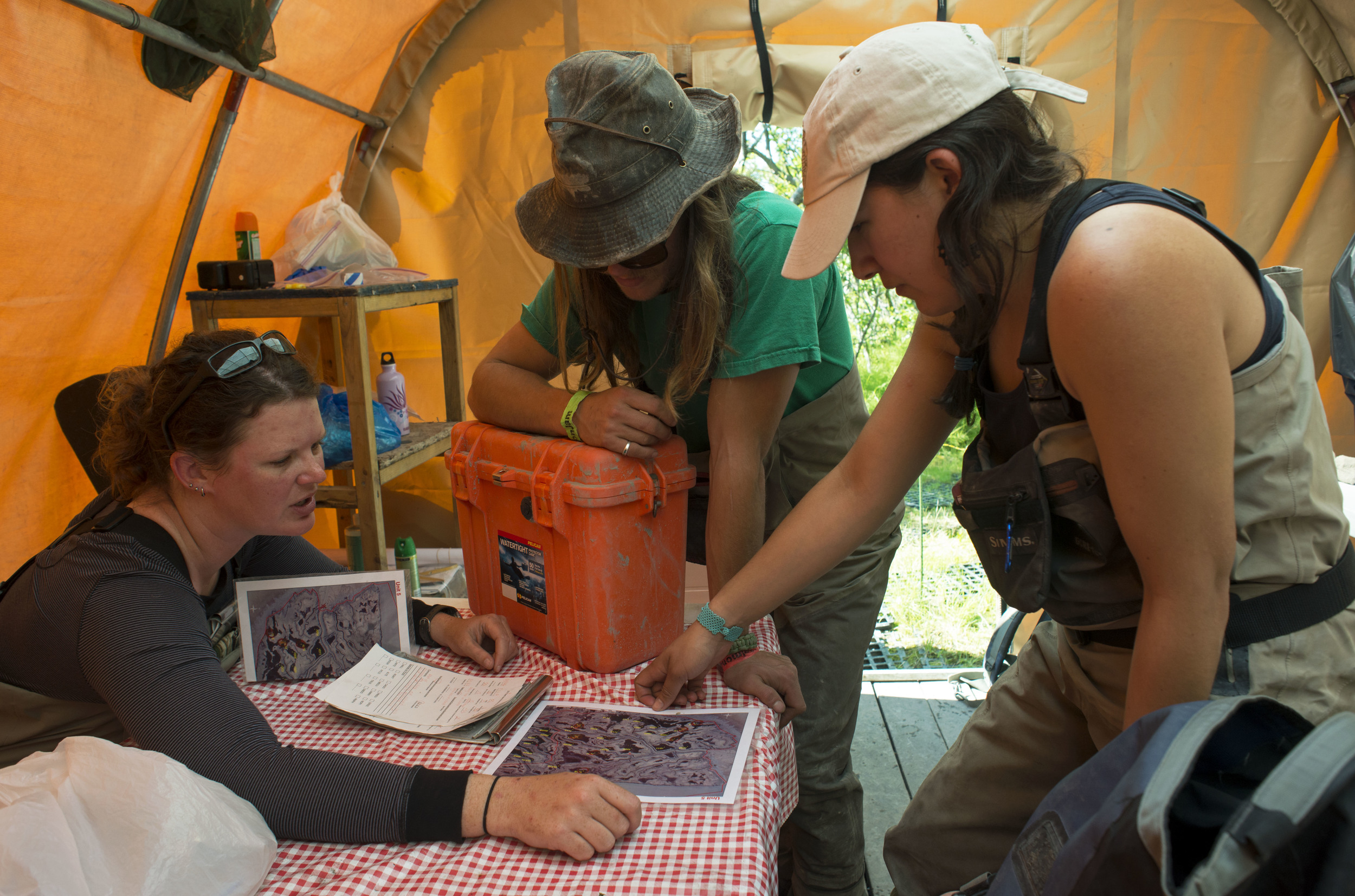 Melissa Gabrielson examines the map of nest islands with James Benson and   Erica Gaeta  . The team formulates a strategy to maintain the islands in need of maintenance within one given area during their four-day stay at Dusky Camp.